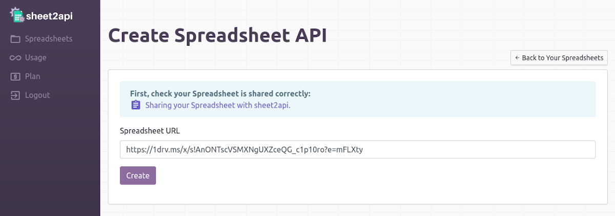 Create REST API from a Google or Excel Sheet