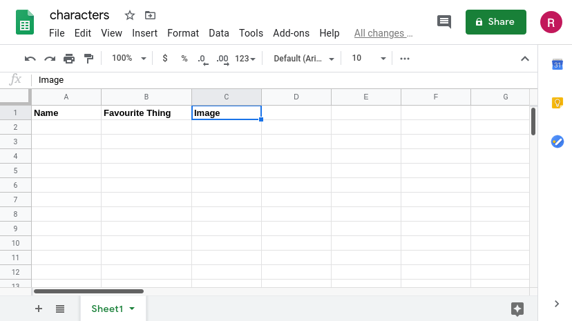 Google Sheet with named columns