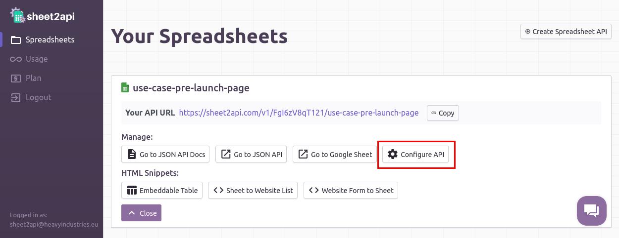 Configure API link