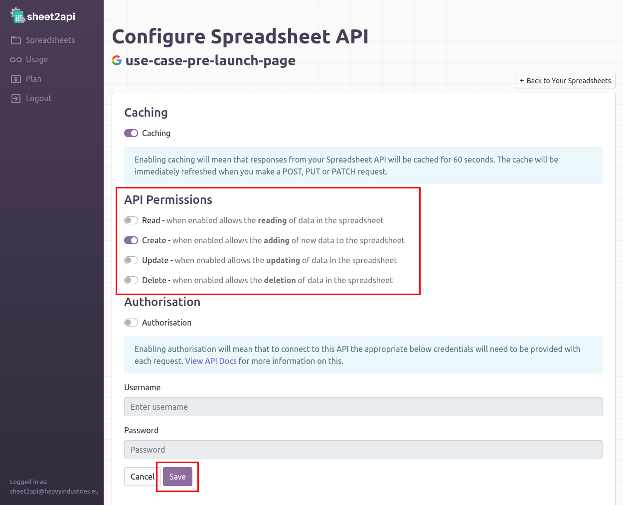 Configure API to allow Create requests only