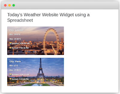 Weather Widget on a web page using a spreadsheet