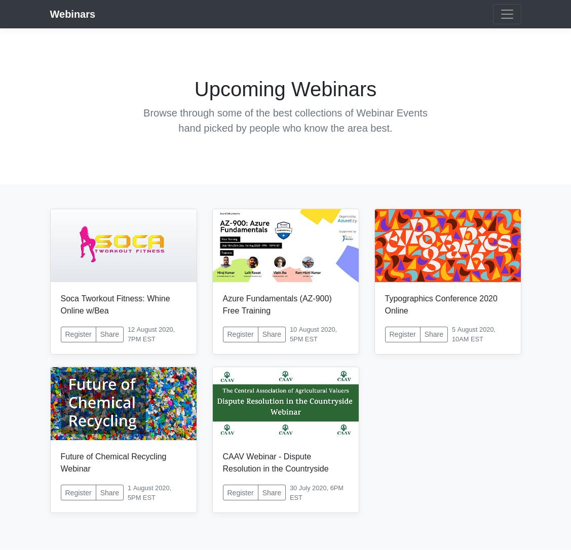 Excel Online powered Webinars listing page