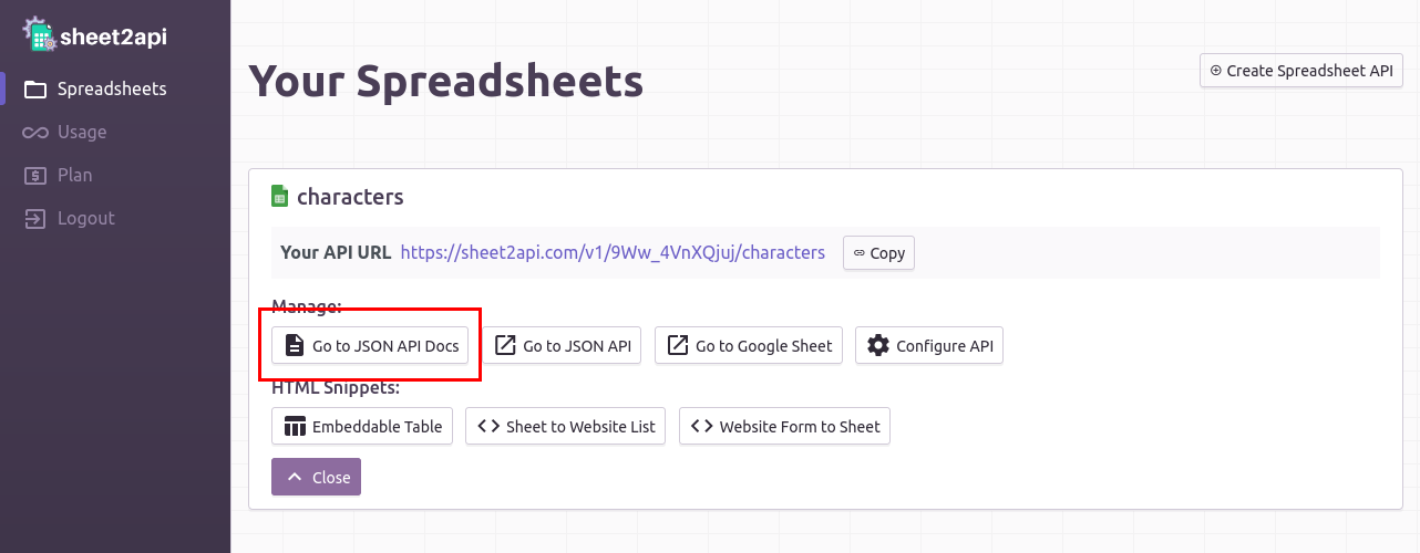 Spreadsheet API Documentation link in Your Account