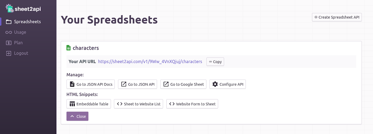 Your Spreadsheet APIs list in account