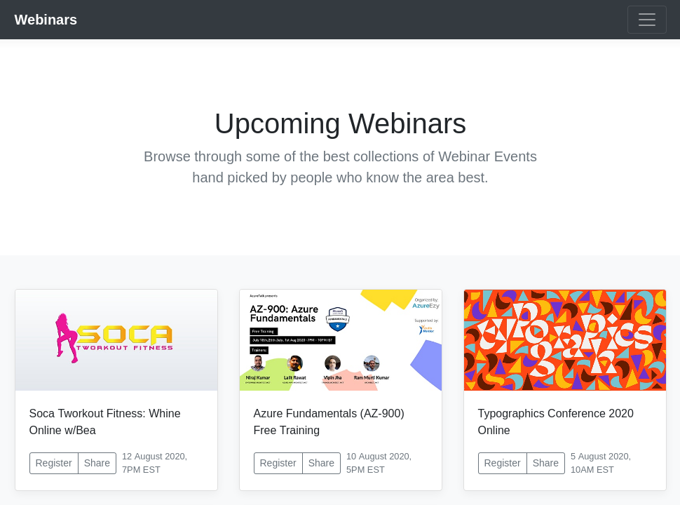 Preview of Webinar Listings Page template